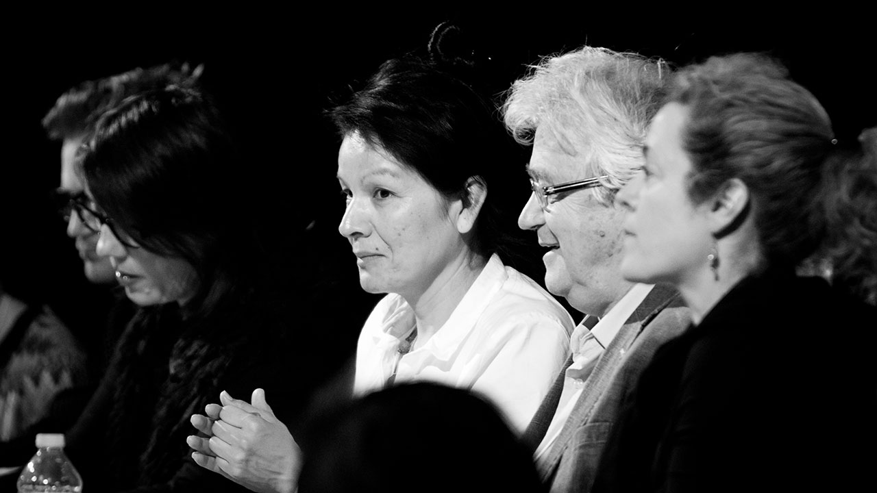 The French judges applaud the end of the second round of the French Stream. (l to r: Rita Mestokosho, Pierre Nepveu, Jeanne Painchaud)