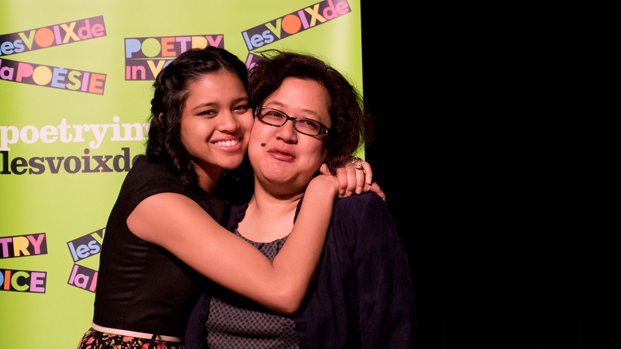 Marie Foolchand gives her mother a hug