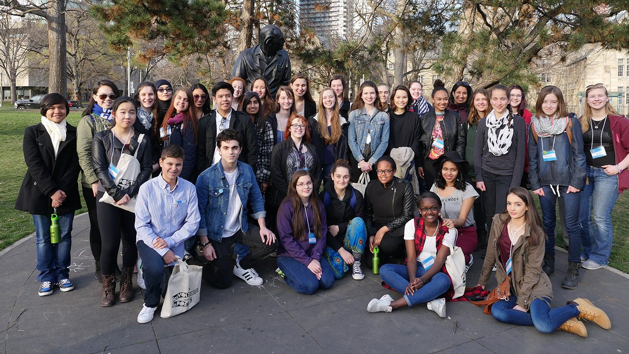 39 students from across Canada gather in front of the Al Purdy statue in Toronto for the 6th annual Poetry In Voice recitation contest.