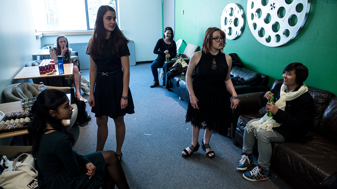 The Bilingual Stream students relax in the Green Room before their Qualifier.