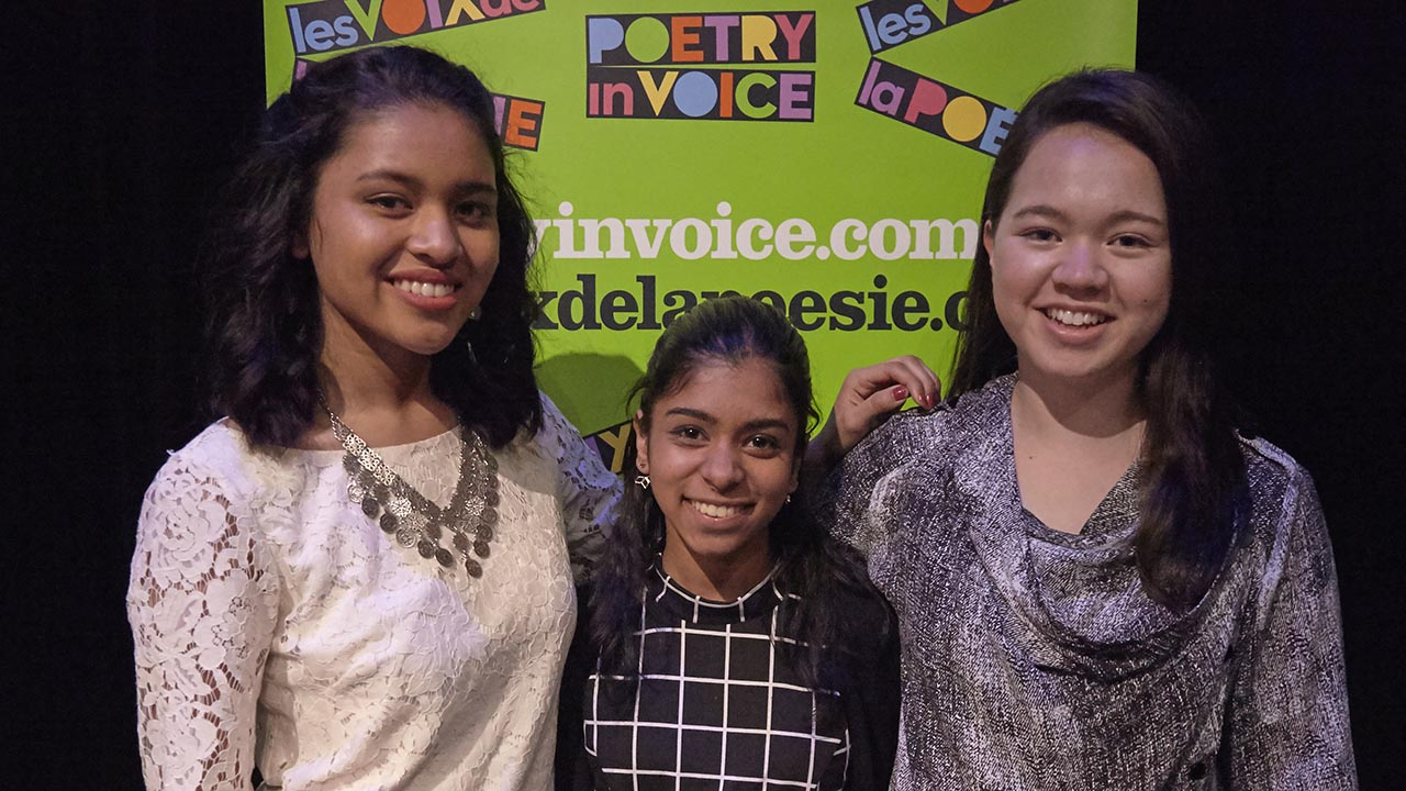 Bilingual Stream competitors Marie Foolchand, Elizabeth Vaz and Gabrielle Nebrida-Pepin after the show