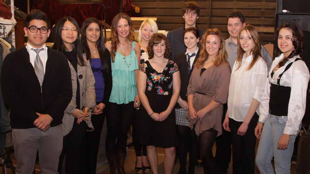 Finalists, left to right, backstage before the competition: David Castillo, Anna Jiang, Malvika Chowdry, Lily MacLeod, Amelia Druskis, Mélodie Cyr, Spencer Slaney, Victoria Campbell, Brogan Carruthers, Jonathan Welstead, Estera Musiala, Suzanna Alsayed