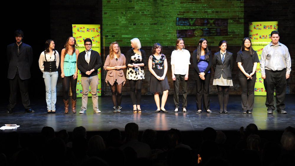 Poetry In Voice 2011 finalists, left to right: Spencer Slaney, Suzanna Alsayed, Lily MacLeod, David Castillo, Brogan Carruthers, Amelia Druskis, Mélodie Cyr, Estera Musiala, Malvika Chowdry, Victoria Campbell, Anna Jiang, and Jonathan Welstead.