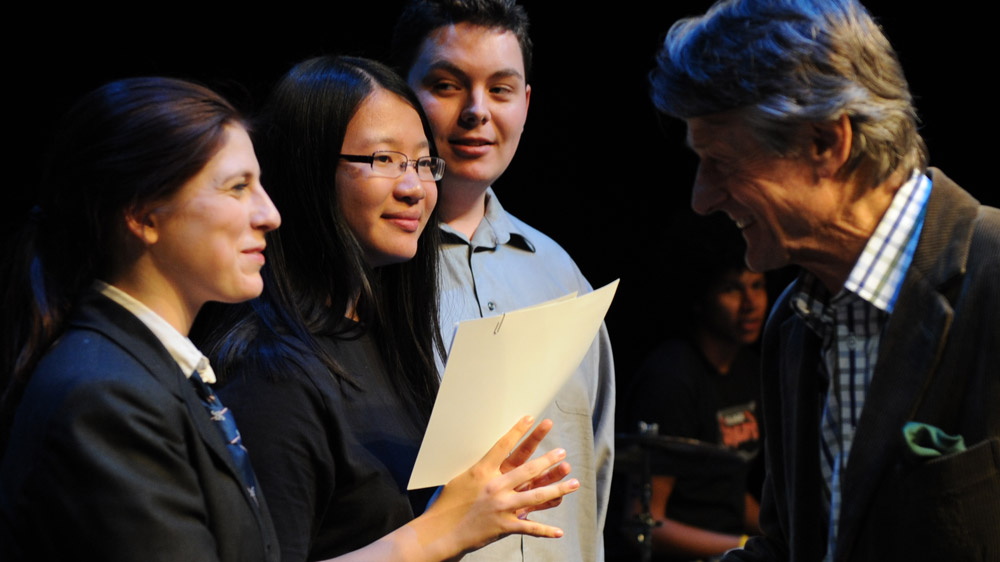 Scott Griffin congratulates the 2011 finalists (left to right): Victoria Campbell, Anna Jiang, Jonathan Welstead.
