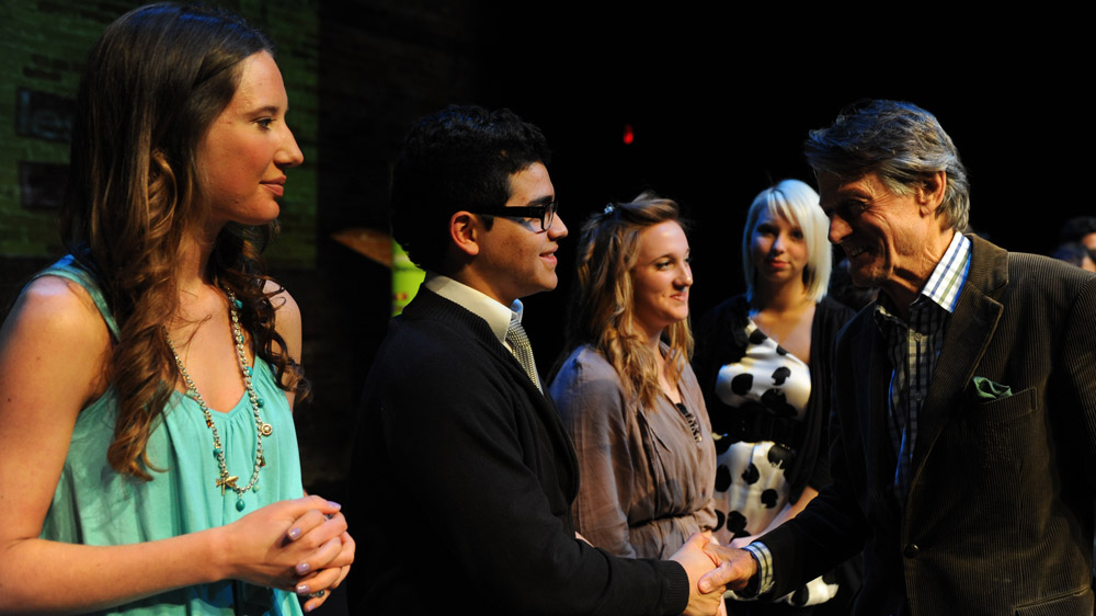 Scott Griffin congratulates the 2011 finalists (left to right): Lily MacLeod, David Castillo, Brogan Carruthers, Amelia Druskis.