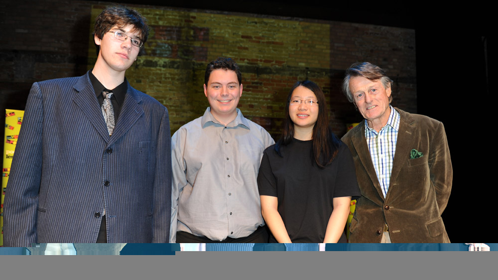 Founder Scott Griffin (far right) with Poetry In Voice 2011 third-place winner Spencer Slaney of Lockerby Composite School in Sudbury, Ontario (far left); 2011 Champion Jonathan Welstead of Upper Canada College in Toronto; and second-place winner Anna Jiang of Victoria Park Collegiate Institute in North York.