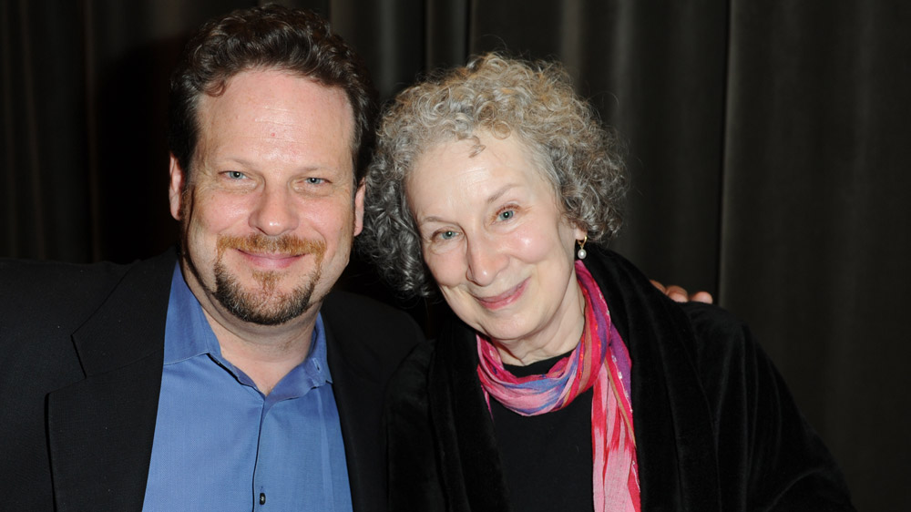 Poetry In Voice host and Soulpepper Founding Artistic Director Albert Schultz with poet, author, and Griffin Trust For Excellence In Poetry Trustee Margaret Atwood