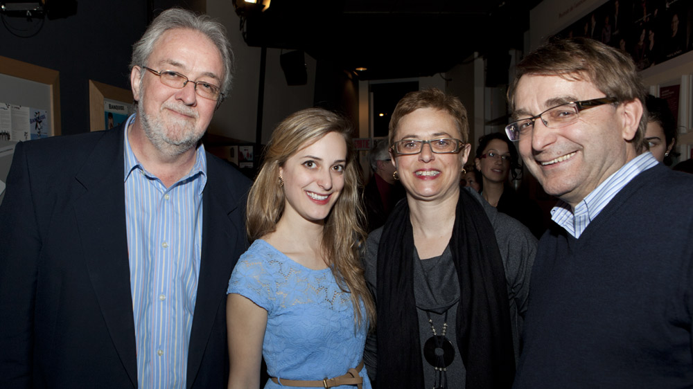 Eve Mangin, Quebec Finals Champion, with her parents and Guy Marchamps (left).
