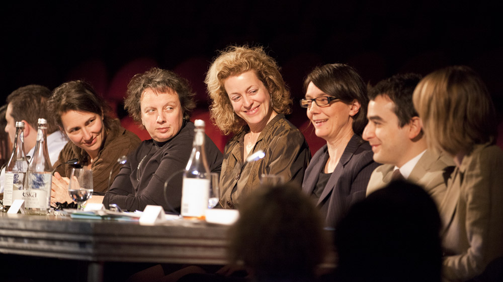 Performance Judges (l. to r.) Catherine Lalonde, France Boisvert, Jeanne Painchaud, Sina Queyras, Carmine Starnino, and Bronwen Low.