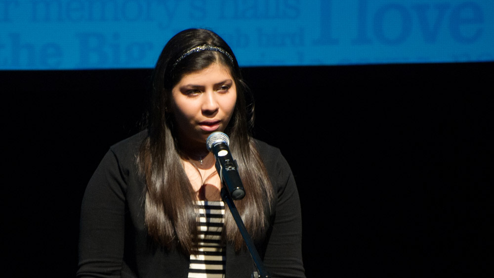 "Daniela Galdamez, from Bayridge Secondary School, Ontario, recites ""The Men That Don't Fit In"" by Robert W. Service."