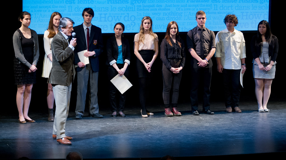 Scott Griffin congratulating all of the finalists (from l. to r.) Liana Cusmano, Mary Jane Egan, Jeff Hunt, Sydney Gilchrist, Eve Mangin, Sadie Anne Hirschfield, Josh Cape, Alexander Gagliano, and Daniela Galdamez.