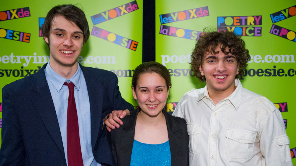 The three 2012 Poetry In Voice Grand Finals Champions (l. to r.) Jeff Hunt, Sydney Gilchrist, and Alexander Gagliano.