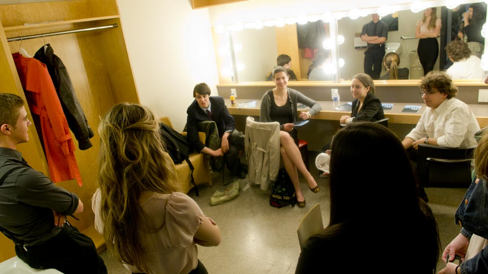 Dressing room jitters; (l. to r.) Josh Cape, Eve Mangin, Jeff Hunt, Liana Cusmano, Sydney Gilchrist, Daniela Galdamez, and Alexander Gagliano.