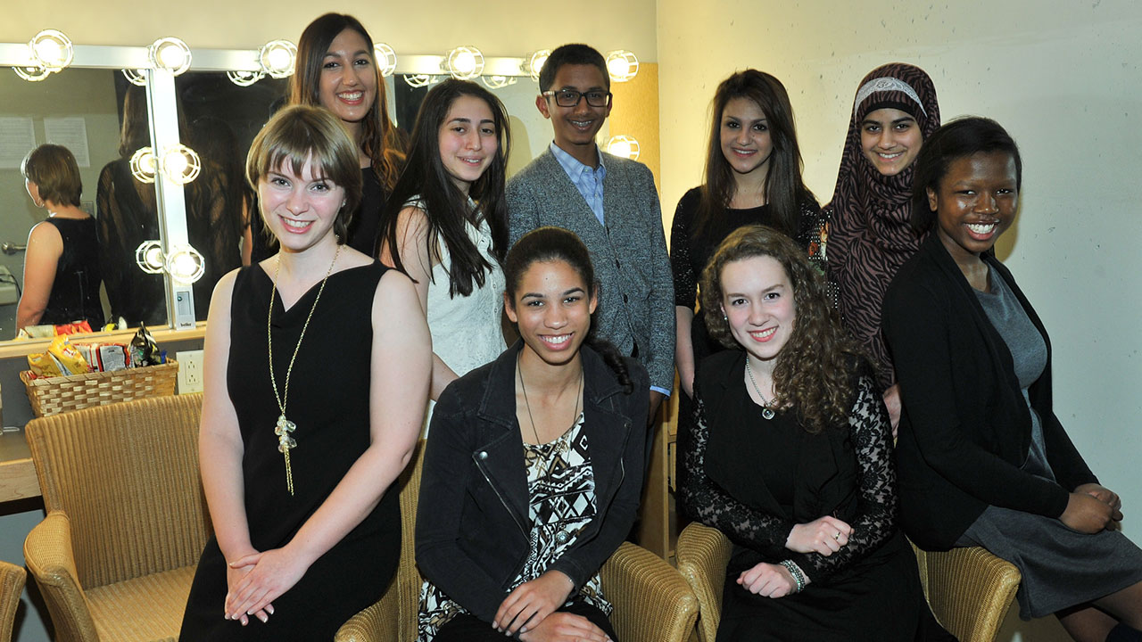 The nine finalists before the last round of the contest on May 15, 2013. (L. to r.): Anne Leblanc, Natasha Jadavji, Sarah Kordlouie, Kyla Kane, Khalil Mair, Caitlin Botros, Elisabeth Sohier-Poirier, Aisha Nafees, and Dede Akolo.