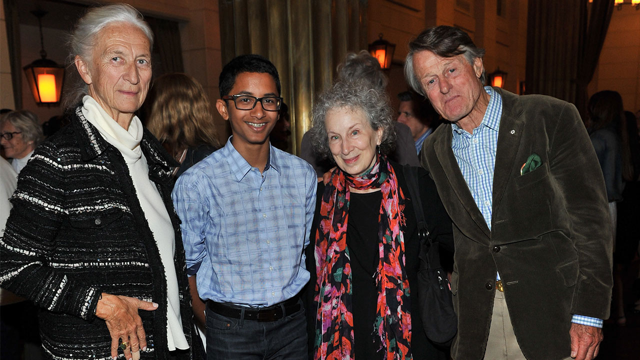 Krystyne Griffin, Khalil Mair, Margaret Atwood, and Scott Griffin at the party after the show.