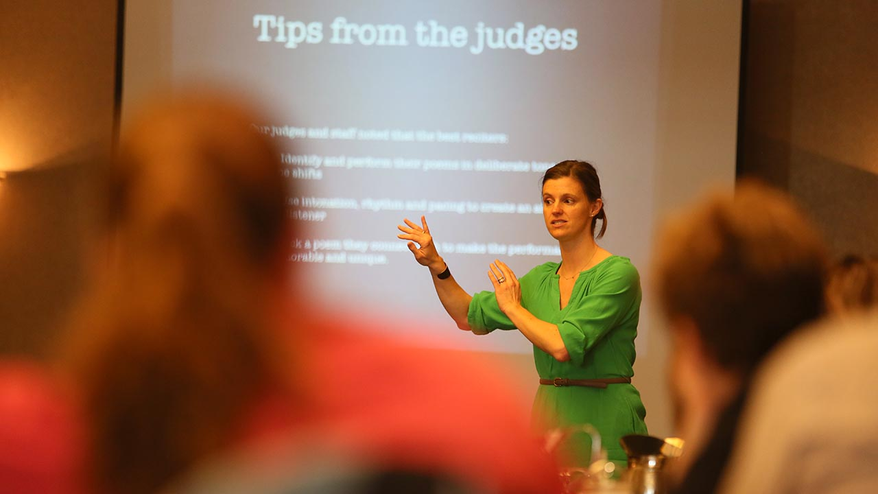 Teachers discussed teaching poetry and coaching students, and learned what judges look for in a recitation.