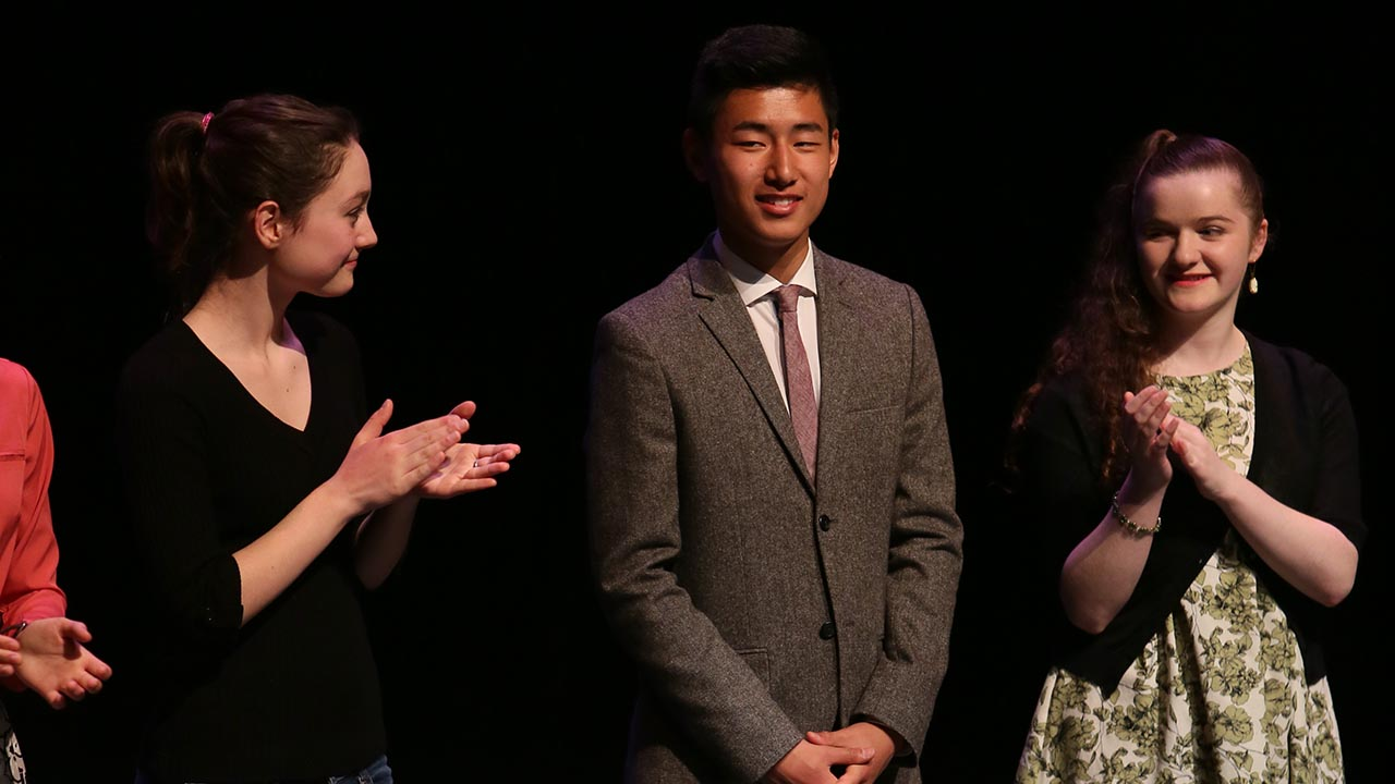 Leo Chang, from St. George's School (Vancouver, BC), won third prize in the English Stream. He is flanked on the left by Kelsi James of Dr. Charles Best Secondary School (Coquitlam, BC) and Roan Shankaruk from Vancouver Technical Secondary School (Vancouver, BC).